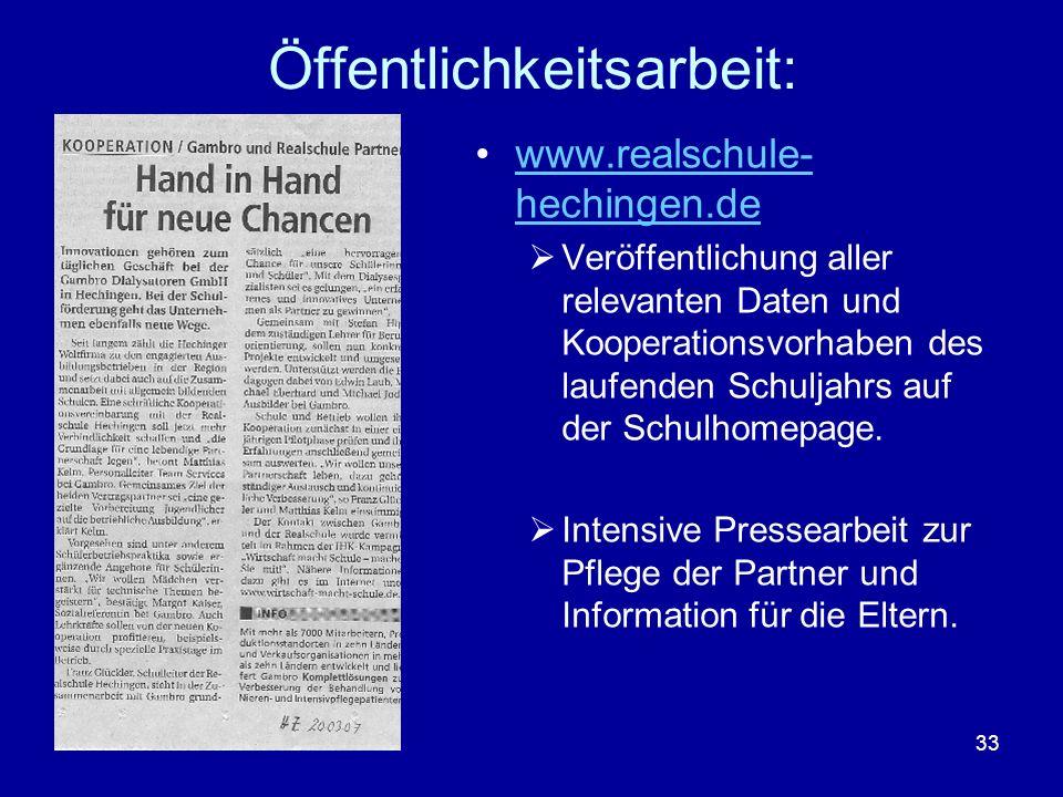 33 Öffentlichkeitsarbeit: www.realschule- hechingen.dewww.realschule- hechingen.de Veröffentlichung aller relevanten Daten und Kooperationsvorhaben de