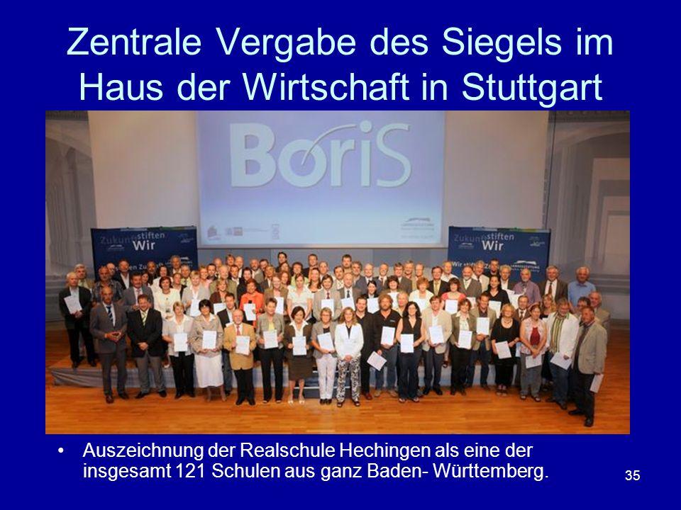 35 Zentrale Vergabe des Siegels im Haus der Wirtschaft in Stuttgart Auszeichnung der Realschule Hechingen als eine der insgesamt 121 Schulen aus ganz