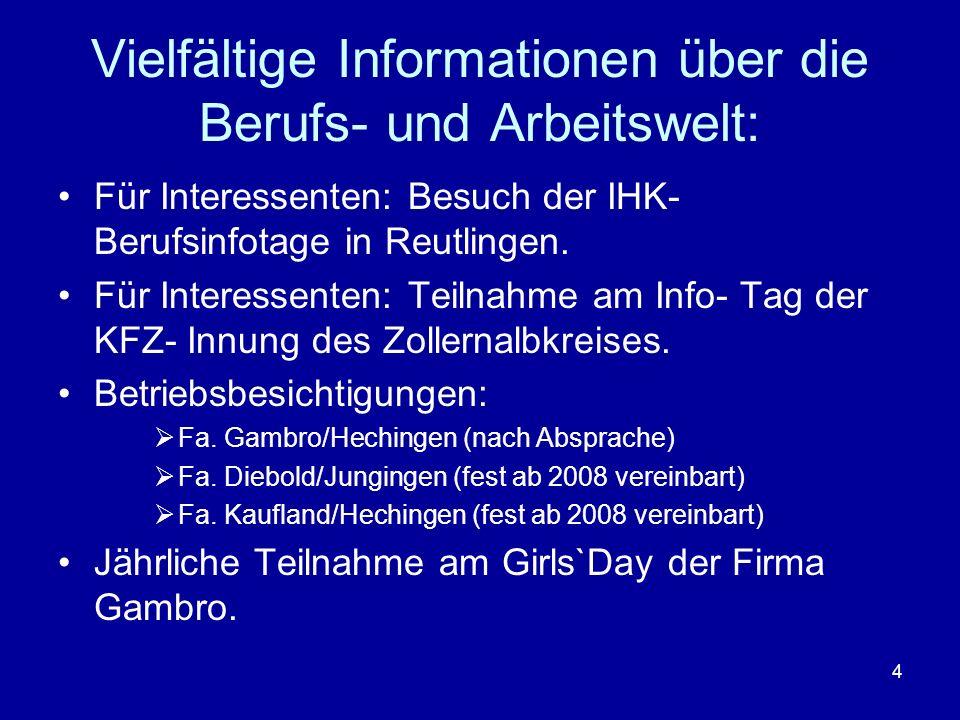 4 Vielfältige Informationen über die Berufs- und Arbeitswelt: Für Interessenten: Besuch der IHK- Berufsinfotage in Reutlingen. Für Interessenten: Teil