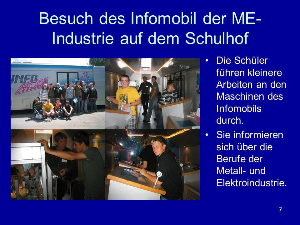7 Besuch des Infomobil der ME- Industrie auf dem Schulhof Die Schüler führen kleinere Arbeiten an den Maschinen des Infomobils durch. Sie informieren