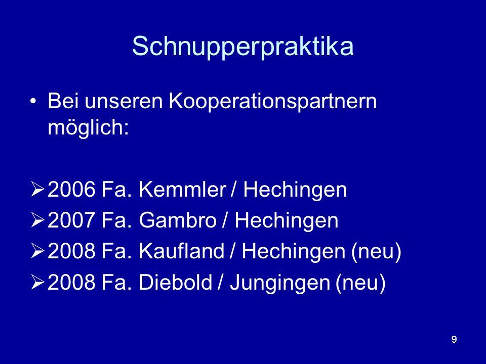 9 Schnupperpraktika Bei unseren Kooperationspartnern möglich: 2006 Fa. Kemmler / Hechingen 2007 Fa. Gambro / Hechingen 2008 Fa. Kaufland / Hechingen (