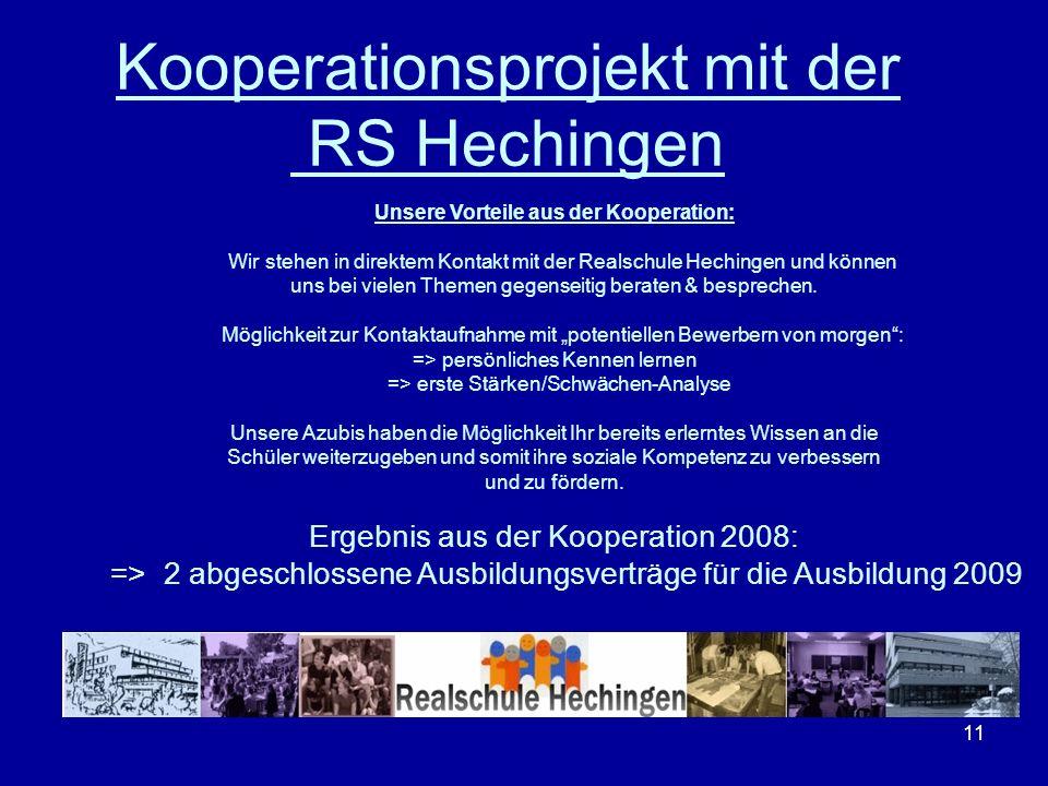 11 Kooperationsprojekt mit der RS Hechingen Unsere Vorteile aus der Kooperation: Wir stehen in direktem Kontakt mit der Realschule Hechingen und könne