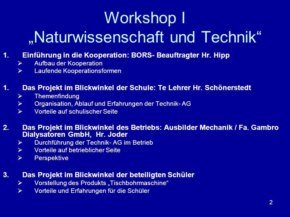 2 Workshop I Naturwissenschaft und Technik 1.Einführung in die Kooperation: BORS- Beauftragter Hr. Hipp Aufbau der Kooperation Laufende Kooperationsfo
