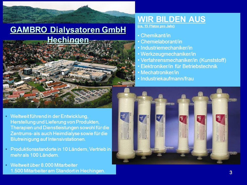 3 WIR BILDEN AUS (ca. 15 Plätze pro Jahr) Chemikant/in Chemielaborant/in Industriemechaniker/in Werkzeugmechaniker/in Verfahrensmechaniker/in (Kunstst
