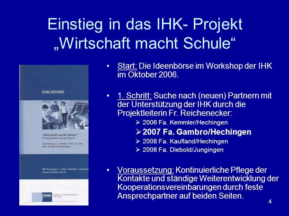 4 Einstieg in das IHK- Projekt Wirtschaft macht Schule Start: Die Ideenbörse im Workshop der IHK im Oktober 2006. 1. Schritt: Suche nach (neuen) Partn