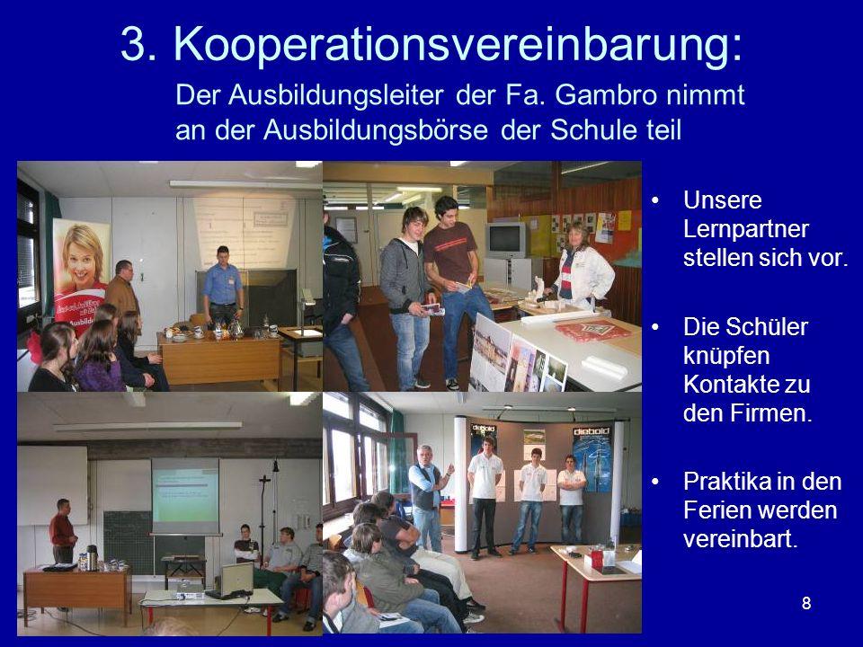 8 3. Kooperationsvereinbarung: Unsere Lernpartner stellen sich vor. Die Schüler knüpfen Kontakte zu den Firmen. Praktika in den Ferien werden vereinba