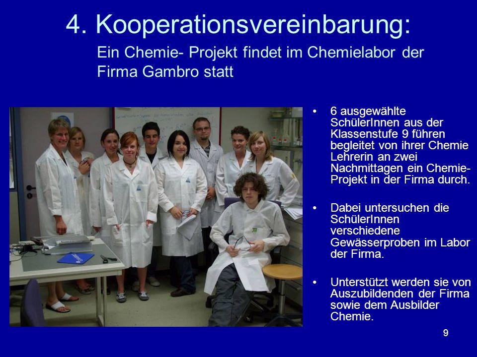 9 4. Kooperationsvereinbarung: 6 ausgewählte SchülerInnen aus der Klassenstufe 9 führen begleitet von ihrer Chemie Lehrerin an zwei Nachmittagen ein C