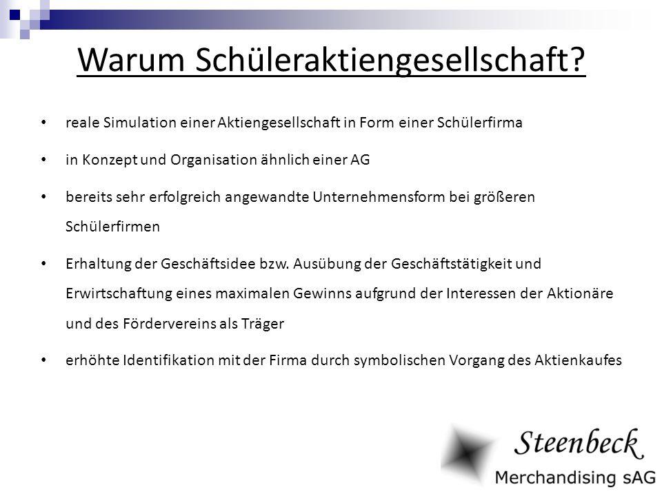 Warum Schüleraktiengesellschaft? reale Simulation einer Aktiengesellschaft in Form einer Schülerfirma in Konzept und Organisation ähnlich einer AG ber