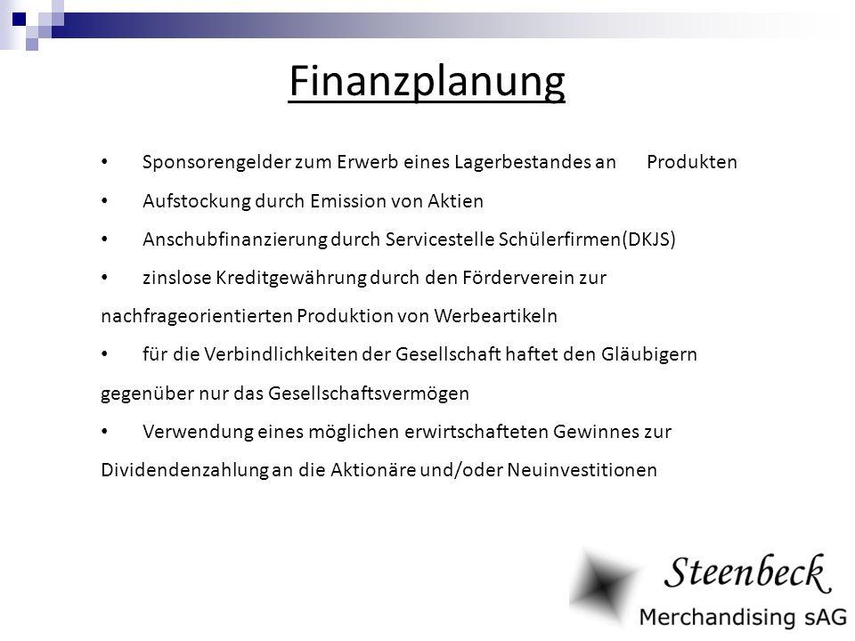 Finanzplanung Sponsorengelder zum Erwerb eines Lagerbestandes an Produkten Aufstockung durch Emission von Aktien Anschubfinanzierung durch Servicestel