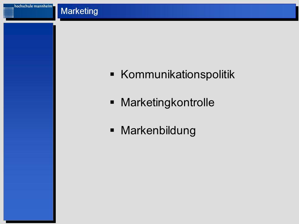 Marketing Kommunikationspolitik Marketingkontrolle Markenbildung