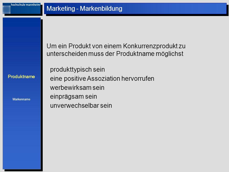 Marketing - Markenbildung Um ein Produkt von einem Konkurrenzprodukt zu unterscheiden muss der Produktname möglichst produkttypisch sein eine positive