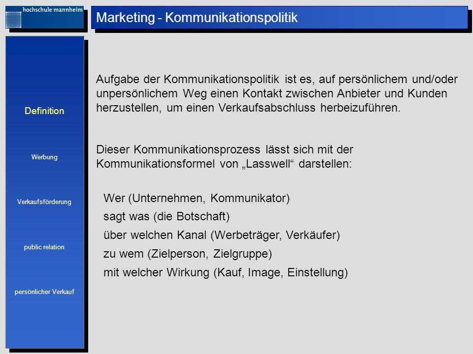 Definition Werbung Verkaufsförderung public relation persönlicher Verkauf Definition Werbung Verkaufsförderung public relation persönlicher Verkauf Ma