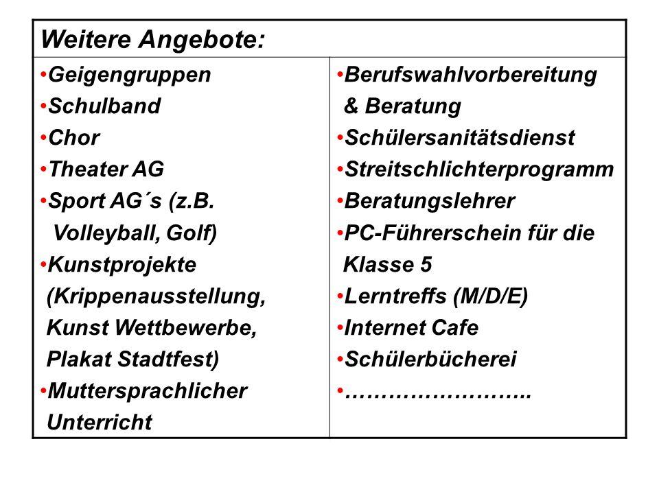 Weitere Angebote: Geigengruppen Schulband Chor Theater AG Sport AG´s (z.B. Volleyball, Golf) Kunstprojekte (Krippenausstellung, Kunst Wettbewerbe, Pla