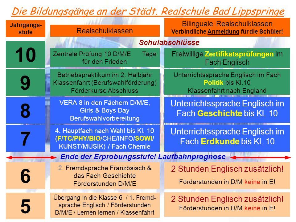 Die Bildungsgänge an der Städt. Realschule Bad Lippspringe Jahrgangs- stufe Realschulklassen Bilinguale Realschulklassen Verbindliche Anmeldung für di
