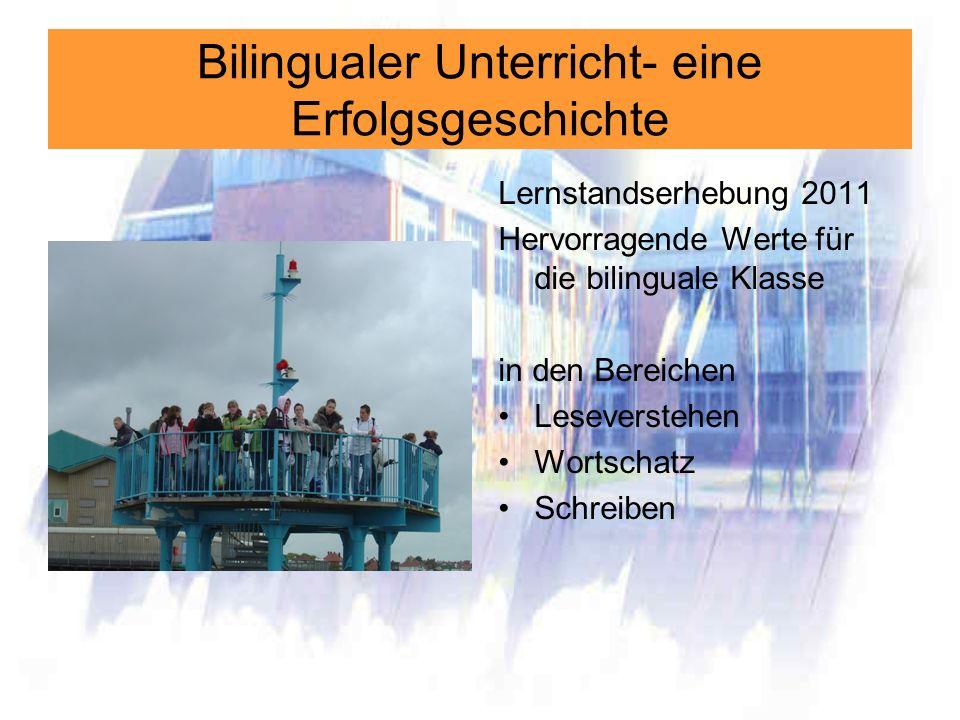 Bilingualer Unterricht- eine Erfolgsgeschichte Lernstandserhebung 2011 Hervorragende Werte für die bilinguale Klasse in den Bereichen Leseverstehen Wo