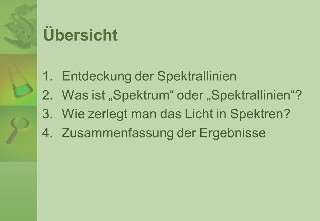 1.Entdeckung der Spektrallinien Im Jahr 1814 beobachtete ein deutscher Optiker namens Joseph von Fraunhofer die Spektrallinien im Sonnenspektrum und er vermaß die Lage der Linien sorgfältig.