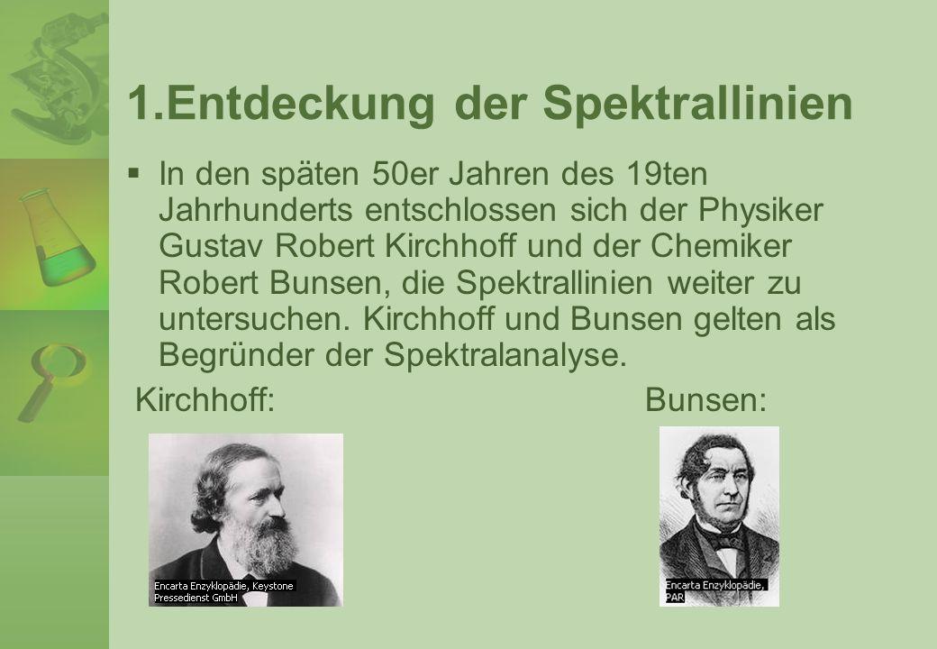 1.Entdeckung der Spektrallinien In den späten 50er Jahren des 19ten Jahrhunderts entschlossen sich der Physiker Gustav Robert Kirchhoff und der Chemik