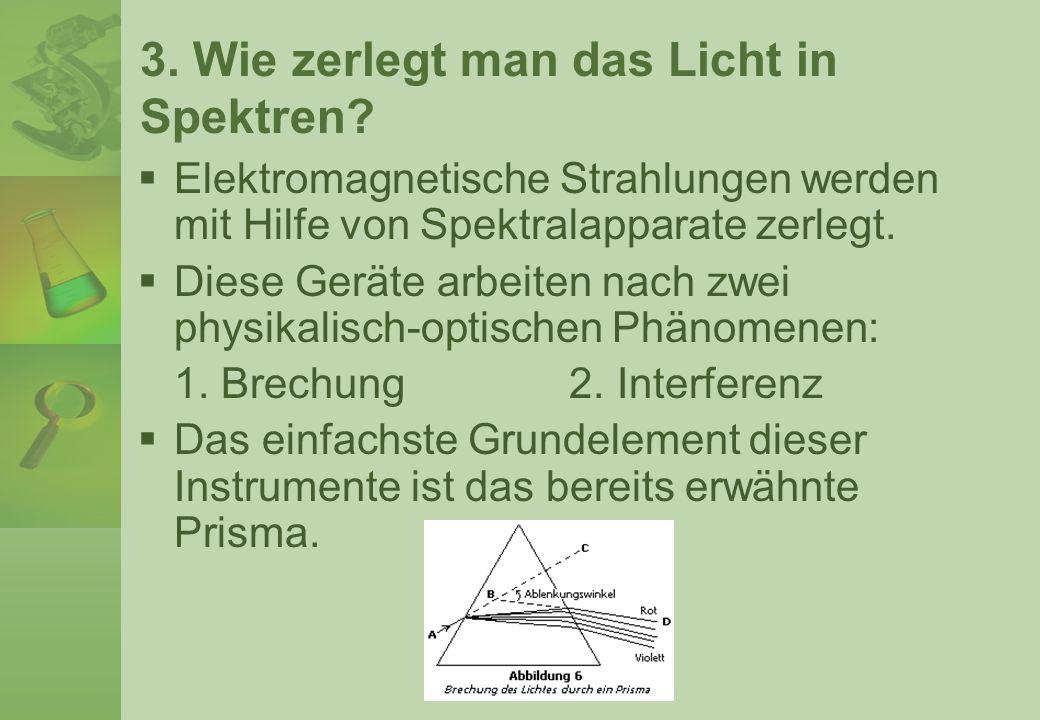 3. Wie zerlegt man das Licht in Spektren? Elektromagnetische Strahlungen werden mit Hilfe von Spektralapparate zerlegt. Diese Geräte arbeiten nach zwe