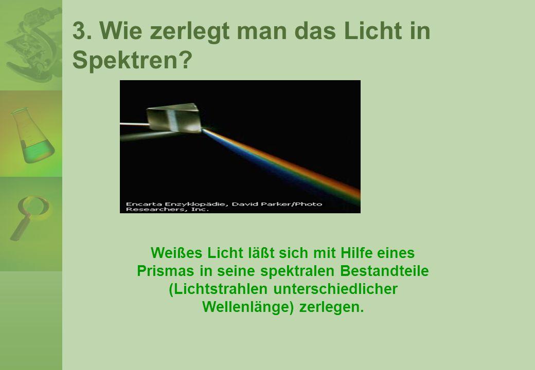 3. Wie zerlegt man das Licht in Spektren? Weißes Licht läßt sich mit Hilfe eines Prismas in seine spektralen Bestandteile (Lichtstrahlen unterschiedli