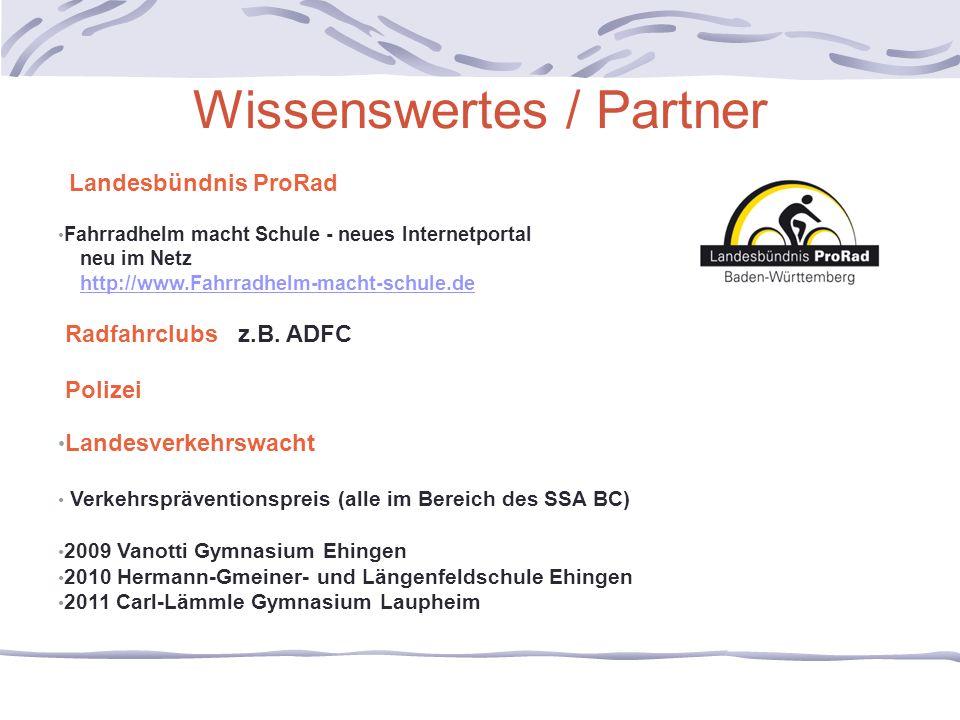 Wissenswertes / Partner Landesbündnis ProRad Fahrradhelm macht Schule - neues Internetportal neu im Netz http://www.Fahrradhelm-macht-schule.de Radfah