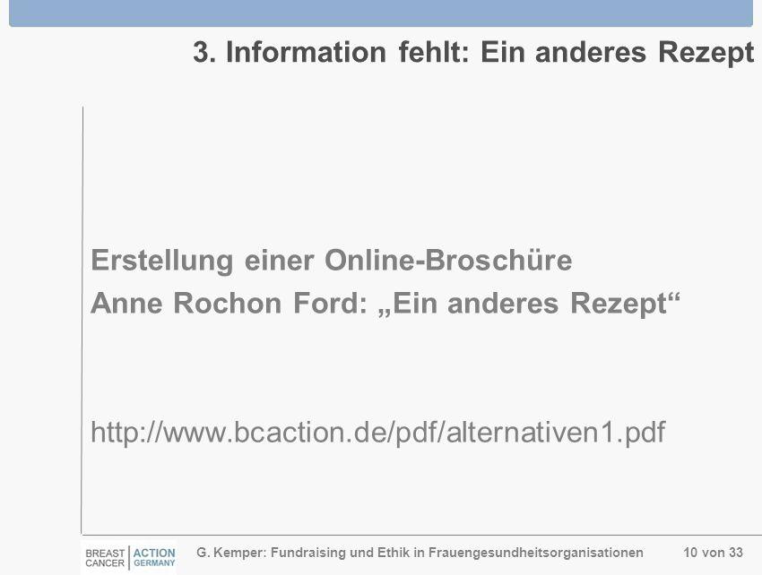 G. Kemper: Fundraising und Ethik in Frauengesundheitsorganisationen 10 von 33 3. Information fehlt: Ein anderes Rezept Erstellung einer Online-Broschü
