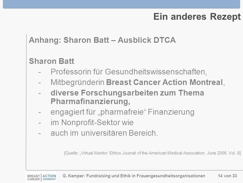 G. Kemper: Fundraising und Ethik in Frauengesundheitsorganisationen 14 von 33 Ein anderes Rezept Anhang: Sharon Batt – Ausblick DTCA Sharon Batt -Prof