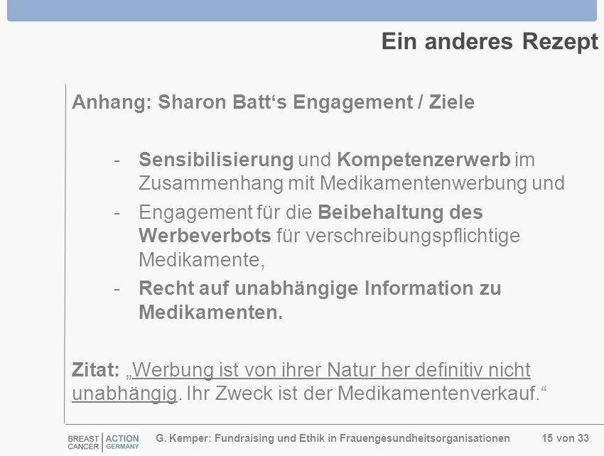 G. Kemper: Fundraising und Ethik in Frauengesundheitsorganisationen 15 von 33 Ein anderes Rezept Anhang: Sharon Batts Engagement / Ziele - Sensibilisi