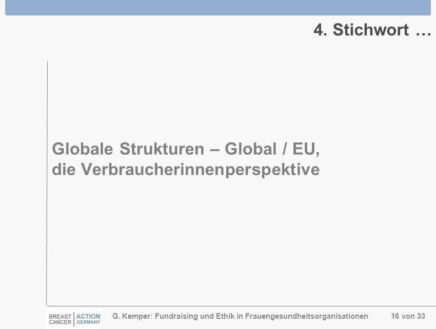 G. Kemper: Fundraising und Ethik in Frauengesundheitsorganisationen 16 von 33 4. Stichwort … Globale Strukturen – Global / EU, die Verbraucherinnenper