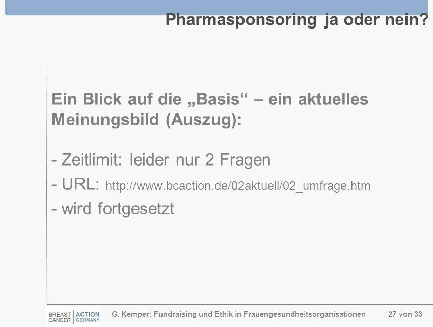 G. Kemper: Fundraising und Ethik in Frauengesundheitsorganisationen 27 von 33 Pharmasponsoring ja oder nein? Ein Blick auf die Basis – ein aktuelles M