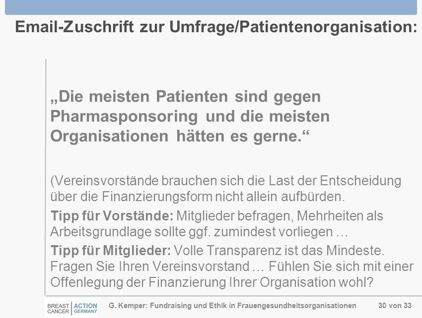 G. Kemper: Fundraising und Ethik in Frauengesundheitsorganisationen 30 von 33 Email-Zuschrift zur Umfrage/Patientenorganisation: Die meisten Patienten