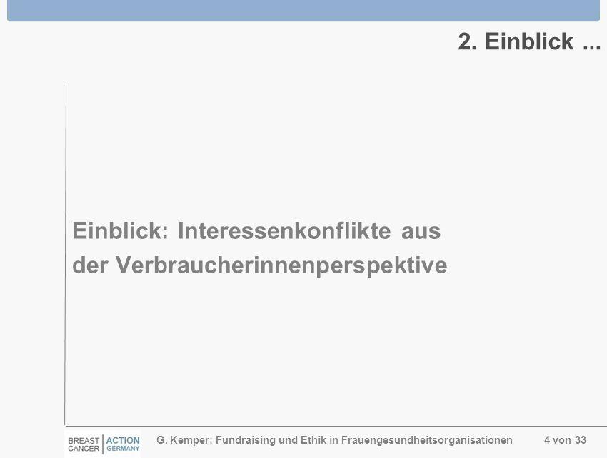 G. Kemper: Fundraising und Ethik in Frauengesundheitsorganisationen 4 von 33 2. Einblick... Einblick: Interessenkonflikte aus der Verbraucherinnenpers