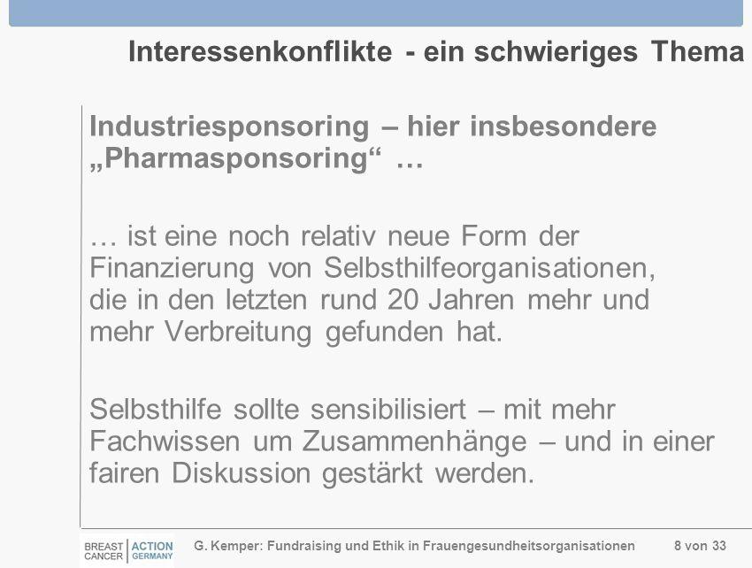 G. Kemper: Fundraising und Ethik in Frauengesundheitsorganisationen 8 von 33 Interessenkonflikte - ein schwieriges Thema Industriesponsoring – hier in