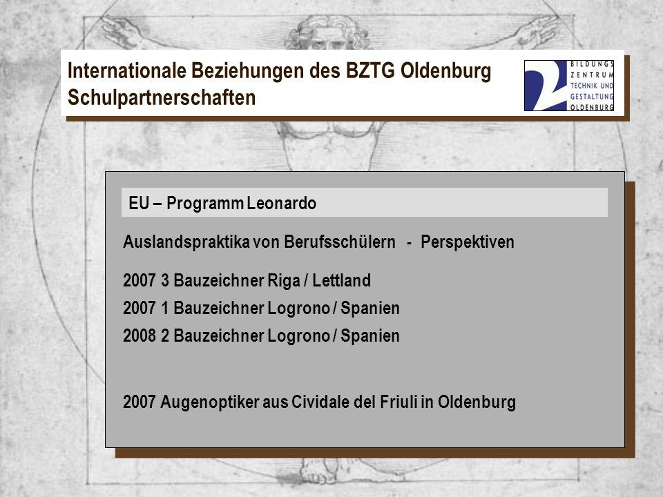 EU – Programm Leonardo Internationale Beziehungen des BZTG Oldenburg Schulpartnerschaften EU – Programm Leonardo Auslandspraktika von Berufsschülern -
