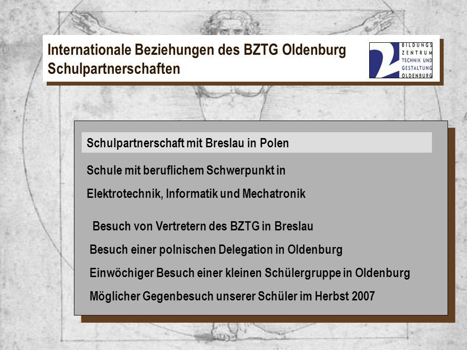 Schulpartnerschaft mit Breslau in Polen Schule mit beruflichem Schwerpunkt in Elektrotechnik, Informatik und Mechatronik Besuch von Vertretern des BZT