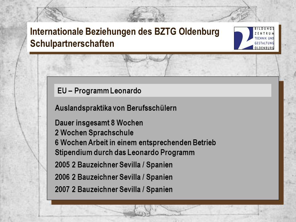 EU – Programm Leonardo Internationale Beziehungen des BZTG Oldenburg Schulpartnerschaften EU – Programm Leonardo Auslandspraktika von Berufsschülern D