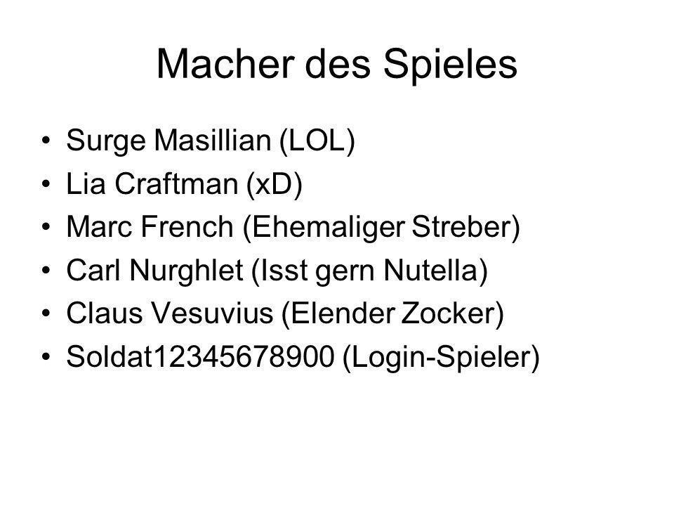 Macher des Spieles Surge Masillian (LOL) Lia Craftman (xD) Marc French (Ehemaliger Streber) Carl Nurghlet (Isst gern Nutella) Claus Vesuvius (Elender