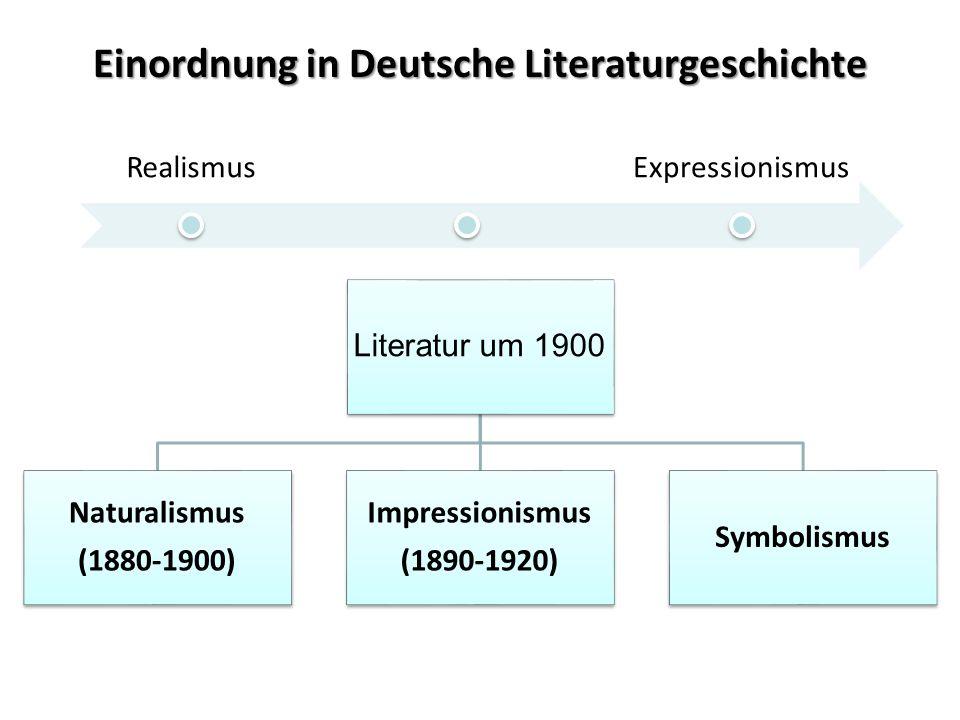 Einordnung in Deutsche Literaturgeschichte Literatur um 1900 Naturalismus (1880-1900) Impressionismus (1890-1920) Symbolismus RealismusExpressionismus