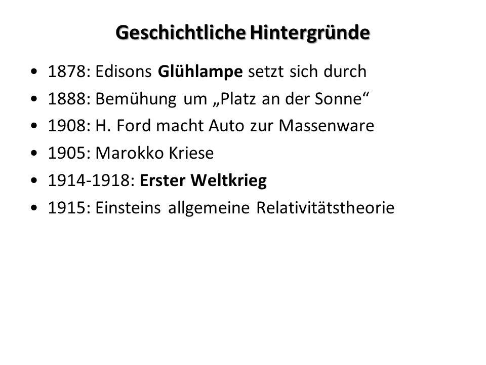 Geschichtliche Hintergründe 1878: Edisons Glühlampe setzt sich durch 1888: Bemühung um Platz an der Sonne 1908: H. Ford macht Auto zur Massenware 1905