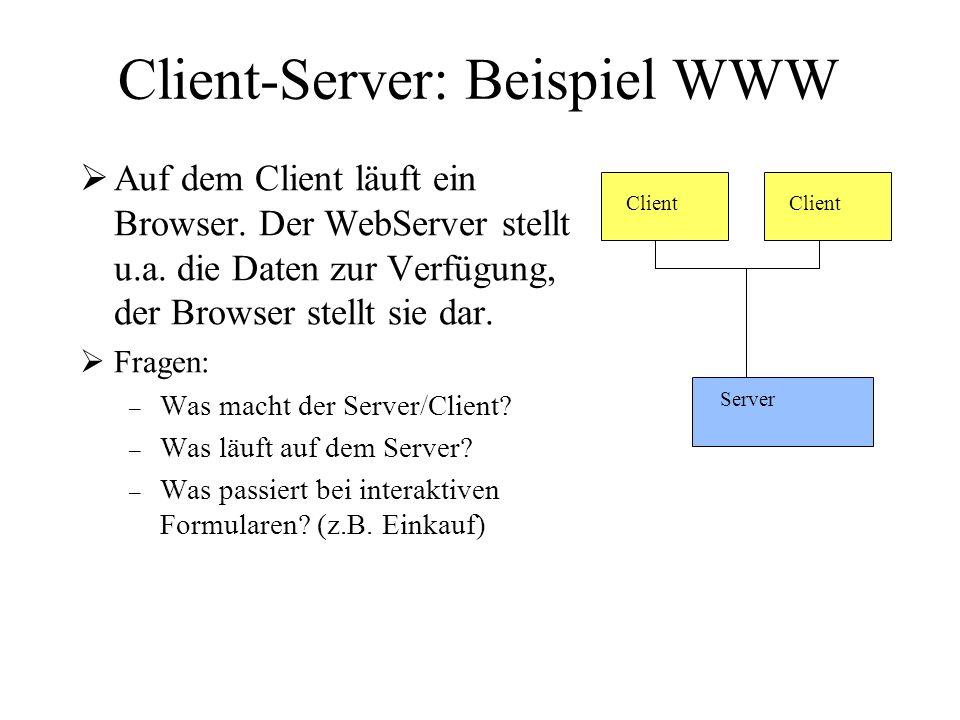 Client-Server: Beispiel WWW Auf dem Client läuft ein Browser. Der WebServer stellt u.a. die Daten zur Verfügung, der Browser stellt sie dar. Fragen: –