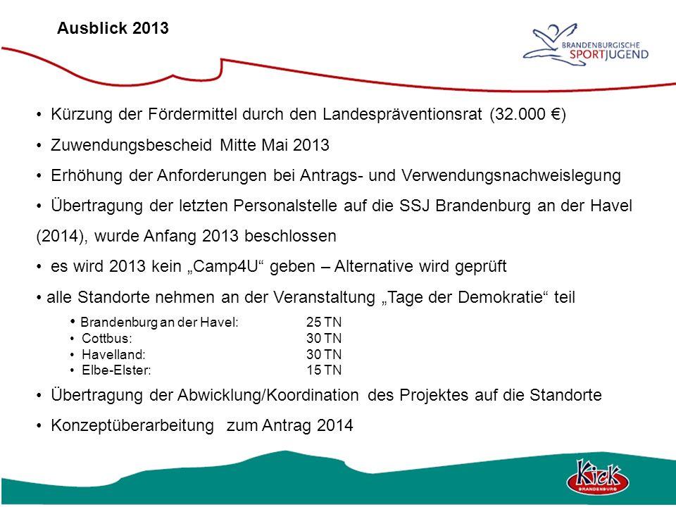 Ausblick 2013 Kürzung der Fördermittel durch den Landespräventionsrat (32.000 ) Zuwendungsbescheid Mitte Mai 2013 Erhöhung der Anforderungen bei Antra