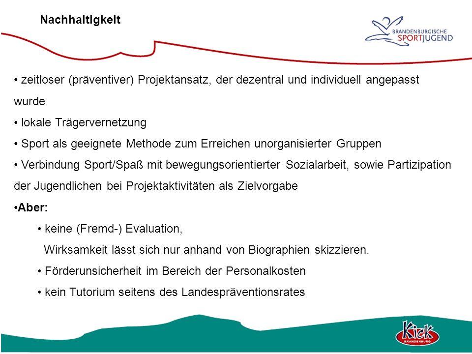 Nachhaltigkeit zeitloser (präventiver) Projektansatz, der dezentral und individuell angepasst wurde lokale Trägervernetzung Sport als geeignete Method
