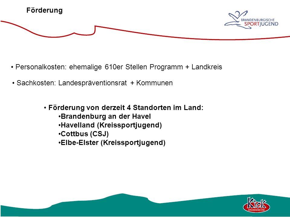 Förderung Personalkosten: ehemalige 610er Stellen Programm + Landkreis Sachkosten: Landespräventionsrat + Kommunen Förderung von derzeit 4 Standorten