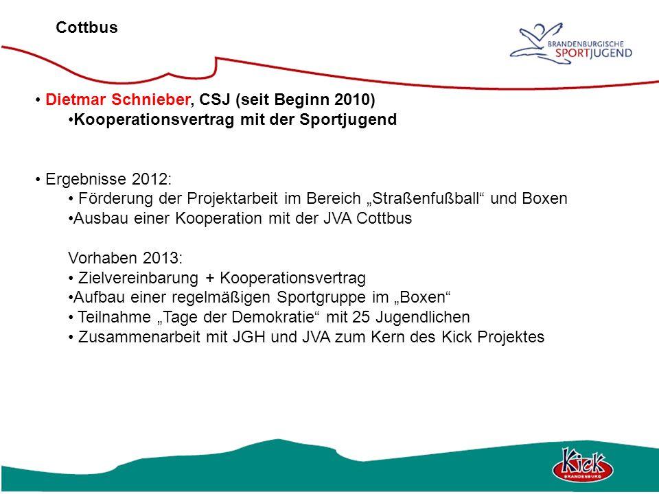 Cottbus Dietmar Schnieber, CSJ (seit Beginn 2010) Kooperationsvertrag mit der Sportjugend Ergebnisse 2012: Förderung der Projektarbeit im Bereich Stra