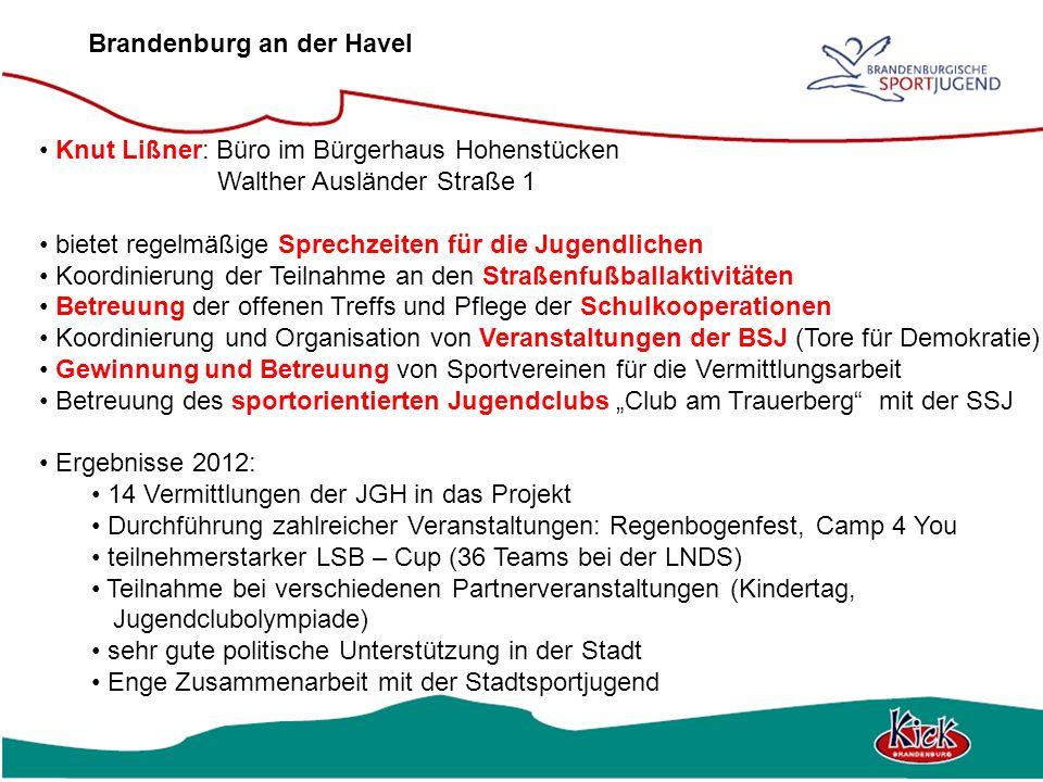 Brandenburg an der Havel Knut Lißner: Büro im Bürgerhaus Hohenstücken Walther Ausländer Straße 1 bietet regelmäßige Sprechzeiten für die Jugendlichen