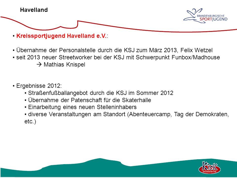 Havelland Kreissportjugend Havelland e.V.: Übernahme der Personalstelle durch die KSJ zum März 2013, Felix Wetzel seit 2013 neuer Streetworker bei der