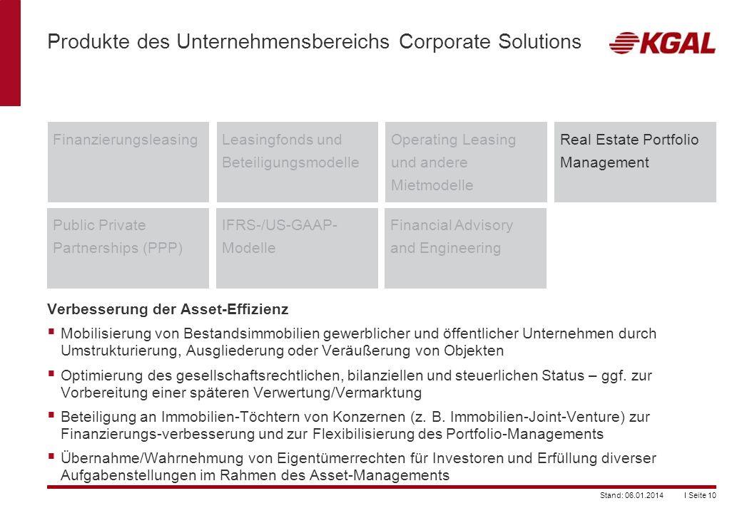 I Seite 10Stand: 06.01.2014 Produkte des Unternehmensbereichs Corporate Solutions FinanzierungsleasingLeasingfonds und Beteiligungsmodelle Operating L