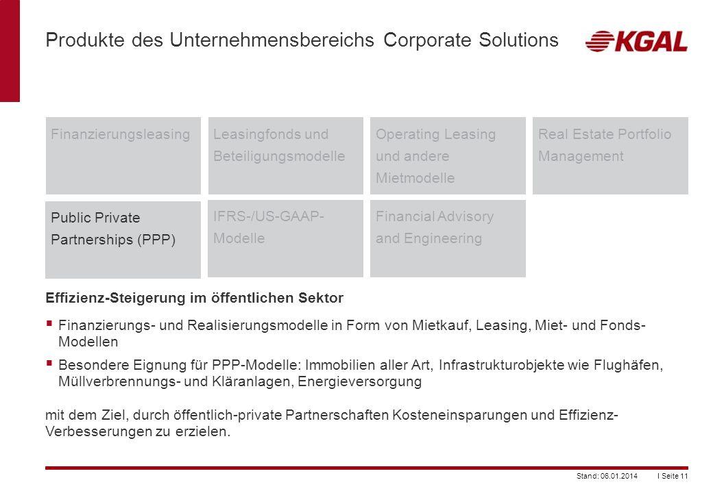 I Seite 11Stand: 06.01.2014 Produkte des Unternehmensbereichs Corporate Solutions FinanzierungsleasingLeasingfonds und Beteiligungsmodelle Operating L