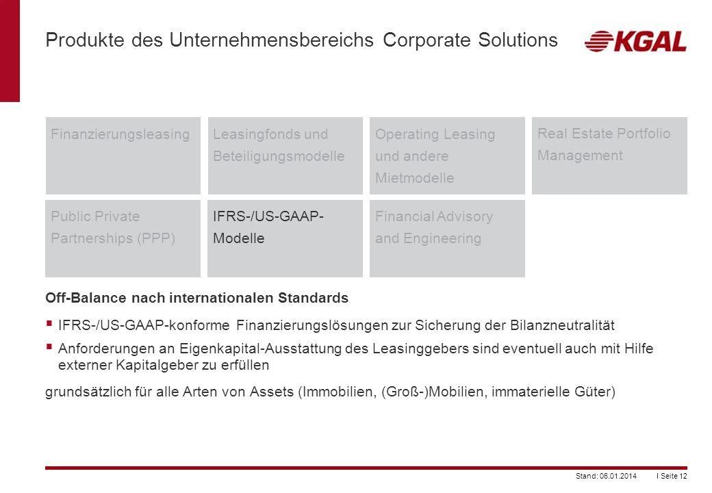 I Seite 12Stand: 06.01.2014 Produkte des Unternehmensbereichs Corporate Solutions FinanzierungsleasingLeasingfonds und Beteiligungsmodelle Operating L