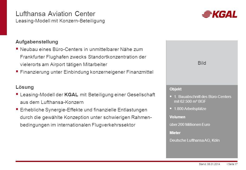 I Seite 17Stand: 06.01.2014 Lufthansa Aviation Center Leasing-Modell mit Konzern-Beteiligung Objekt 1. Bauabschnitt des Büro-Centers mit 62.500 m² BGF
