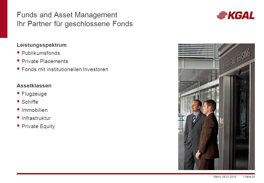 I Seite 24Stand: 06.01.2014 Funds and Asset Management Ihr Partner für geschlossene Fonds Leistungsspektrum Publikumsfonds Private Placements Fonds mi